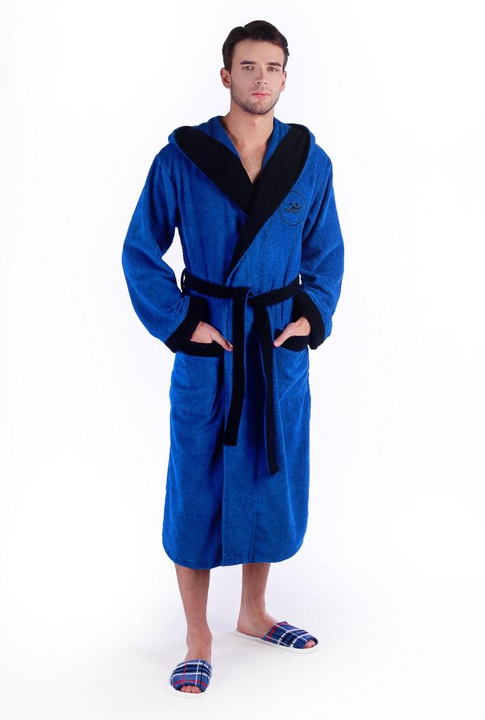 Махровый халат мужской с вышивкой